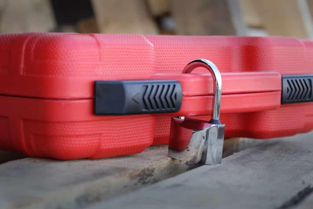 Weigh Safe padlock on toolbox